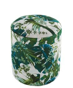 Boho&Co Leaferie velvet drum stool - Green on White