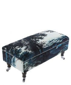 Boho&Co Trees Two Blue velvet footstool
