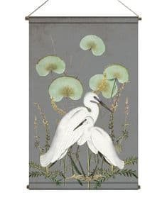 BohoandCo White Egrets wallhanging - vintage grey