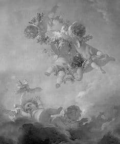 Cherubs Grisaille wallpaper fresco