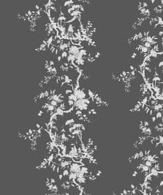 Chinoiserie flow velvet - Pewter/Tea - 1.3m remnant