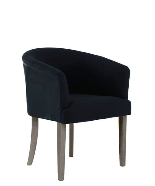 Curve upholstered dining chair - linen