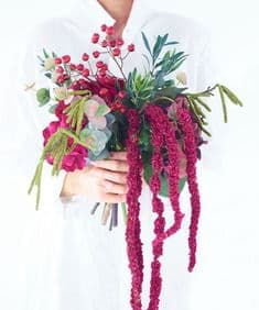 Hydrangea, amaranthus and berry bouquet