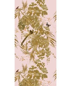 Leaferie Gold on Pale Blush wallpaper