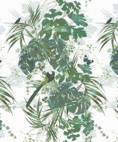 Leaferie/Green on White linen viscose