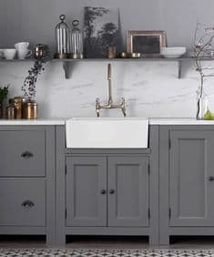 New Country painted 2 door single sink unit (including sink)