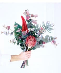 Tall coral and blush exotic hand-tied bouquet