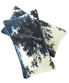 Trees Two Blue velvet gift/travel cushion