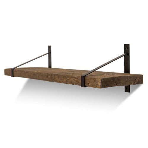Armstrong Solid Wood Shelf & Brackets - 9x1.5 Rustic Shelf (22.5cmx4cm)