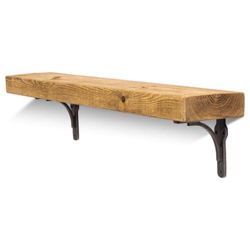Birtley Iron Solid Wood Shelf & Brackets - 6x2 Rustic Shelf (15cmx5cm)
