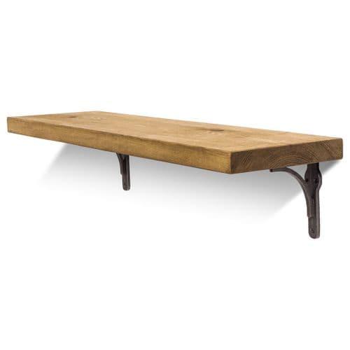 Birtley Iron Solid Wood Shelf & Brackets - 9x1.5 Smooth Shelf (22cmx3.5cm)