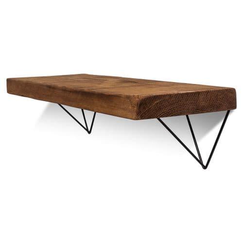Bowes Solid Wood Shelf & Black Metal Brackets - 12x2 Rustic Shelf (29.5cmx5cm)