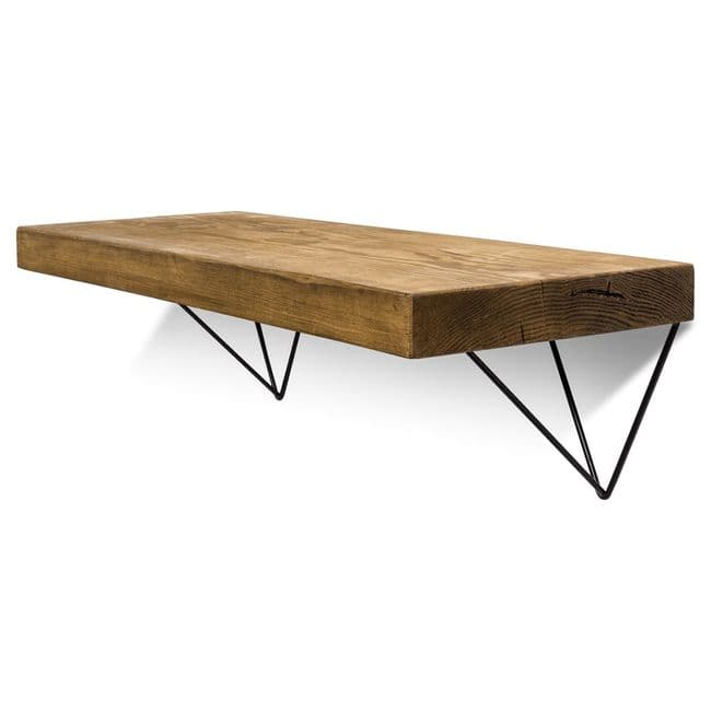 Large Smooth Wooden Shelf & Black Hairpin Brackets | Free Delivery