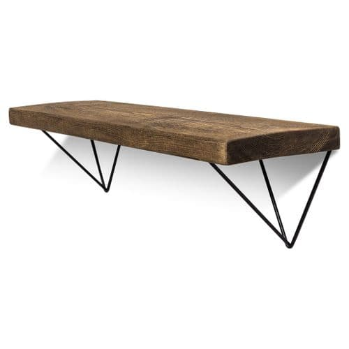 Bowes Solid Wood Shelf & Black Metal Brackets - 9x1.5 Rustic Shelf (22.5cmx4cm)