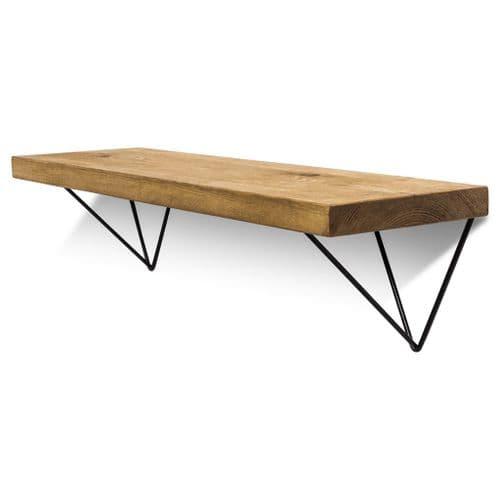 Bowes Solid Wood Shelf & Black Metal Brackets - 9x1.5 Smooth Shelf (22cmx3.5cm)
