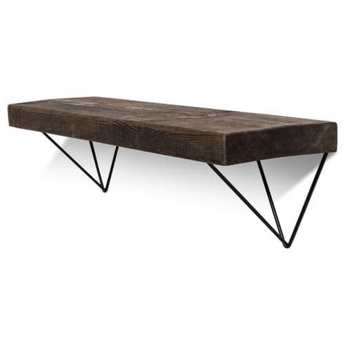 Bowes Solid Wood Shelf & Black Metal Brackets - 9x2 Rustic Shelf (22.5cmx5cm)