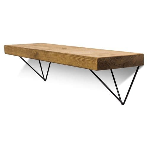 Bowes Solid Wood Shelf & Black Metal Brackets - 9x2 Smooth Shelf (22cmx4.5cm)