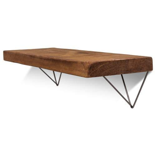 Bowes Solid Wood Shelf & Raw Steel Brackets - 12x2 Rustic Shelf (29.5cmx5cm)