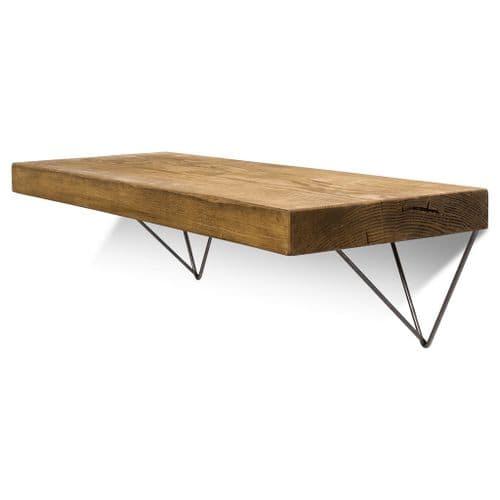 Bowes Solid Wood Shelf & Raw Steel Brackets - 12x2 Smooth Shelf (29cmx4.5cm)
