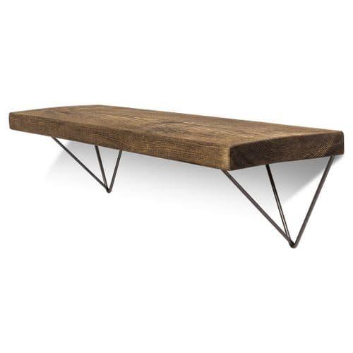 Bowes Solid Wood Shelf & Raw Steel Brackets - 9x1.5 Rustic Shelf (22.5cmx4cm)