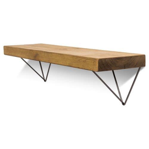 Bowes Solid Wood Shelf & Raw Steel Brackets - 9x2 Smooth Shelf (22cmx4.5cm)