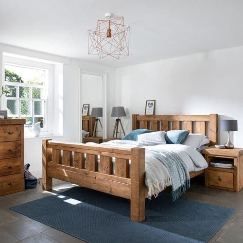 Derwent Rustic Wooden Bed Frame with Footboard