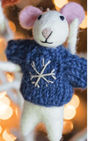 Felt Christmas Mouse  Decoration - Blue