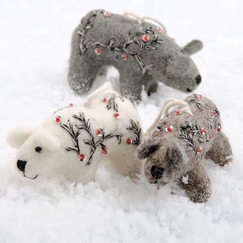 Grey Felt Bear Decoration
