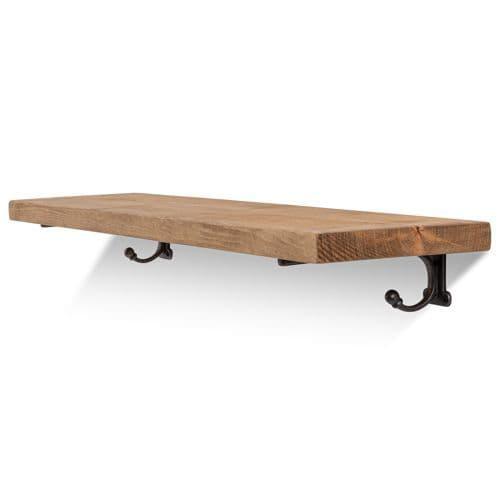 Hutton Solid Wood Shelf & Brackets - 9x1.5 Smooth Shelf (22cmx3.5cm)