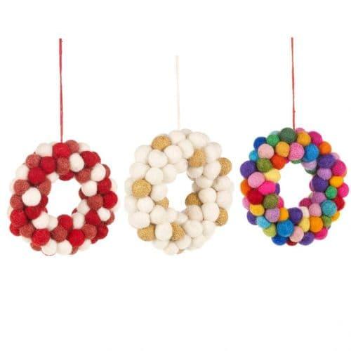 Set of Felt Ball Wreaths Decorations