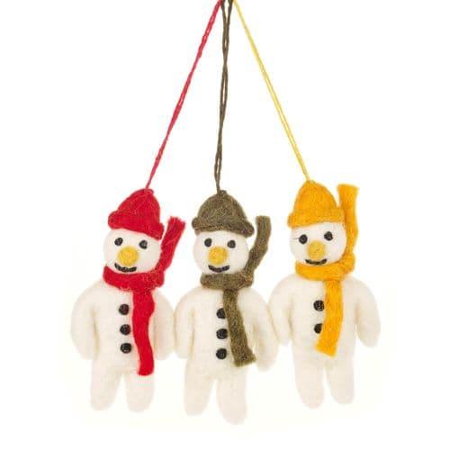 Set of Felt Snowmen Decorations