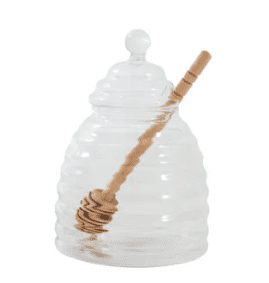 Beehive Glass Honey Pot and Honey Spoon | Accessories
