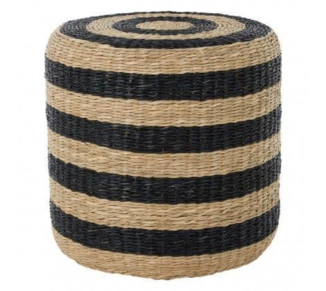Black and Natural Seagrass Pouffe