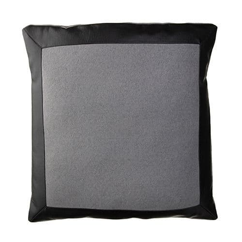 Black Vegan Leather And Fabric Cushion