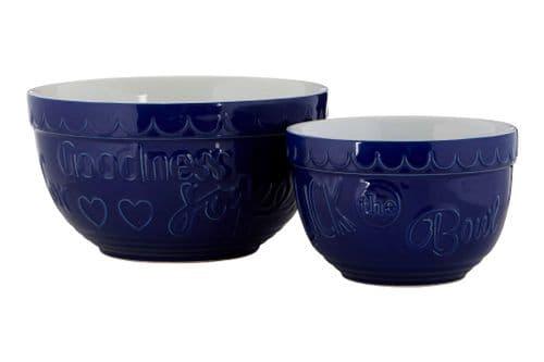 Blue Stoneware Mixing Bowls
