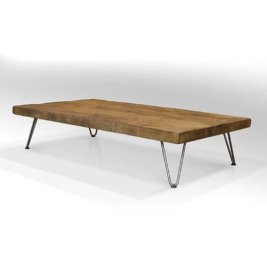 Bowes Rustic Low Wooden Coffee Table with Hairpin Legs