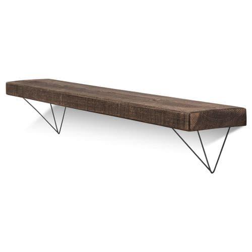 Bowes Solid Wood Shelf & Black Metal Brackets - 6x1.5 Rustic Shelf (15cmx4cm)