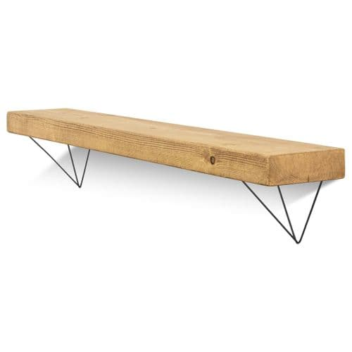 Bowes Solid Wood Shelf & Black Metal Brackets - 6x2 Smooth Shelf (14.5cmx4.5cm)