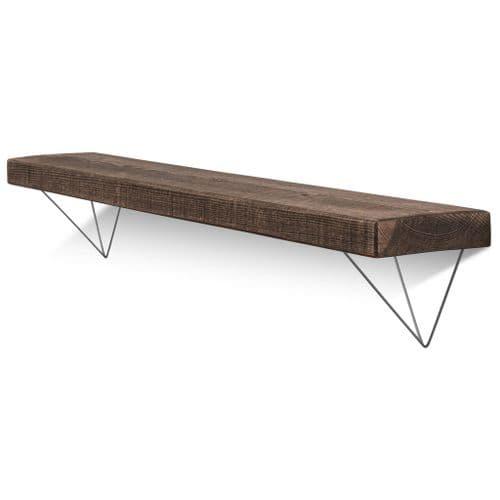 Bowes Solid Wood Shelf & Raw Steel Brackets - 6x1.5 Rustic Shelf (15cmx4cm)