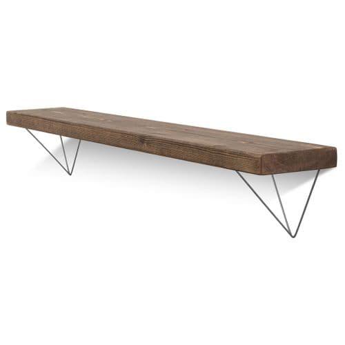 Bowes Solid Wood Shelf & Raw Steel Brackets - 6x1.5 Smooth Shelf (14.5cmx3.5cm)