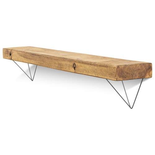Bowes Solid Wood Shelf & Raw Steel Brackets - 6x2 Rustic Shelf (15cmx5cm)