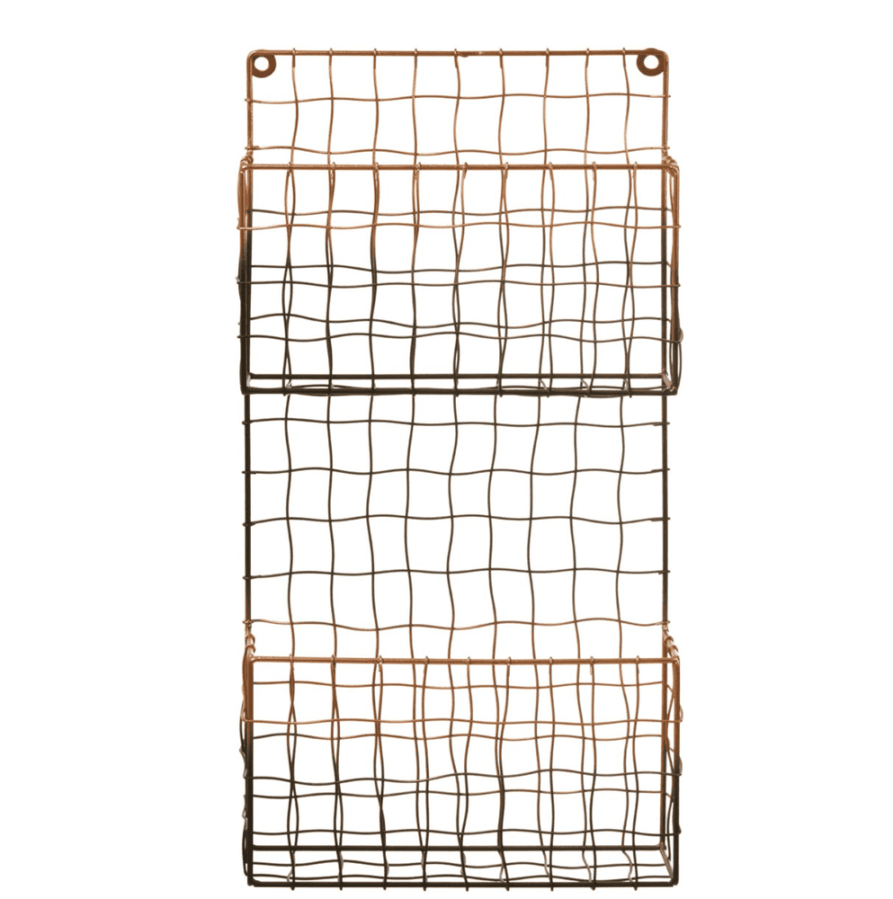 Copper And Black Metal Magazine Rack