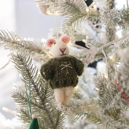 Felt Christmas Mouse  Decoration - Green