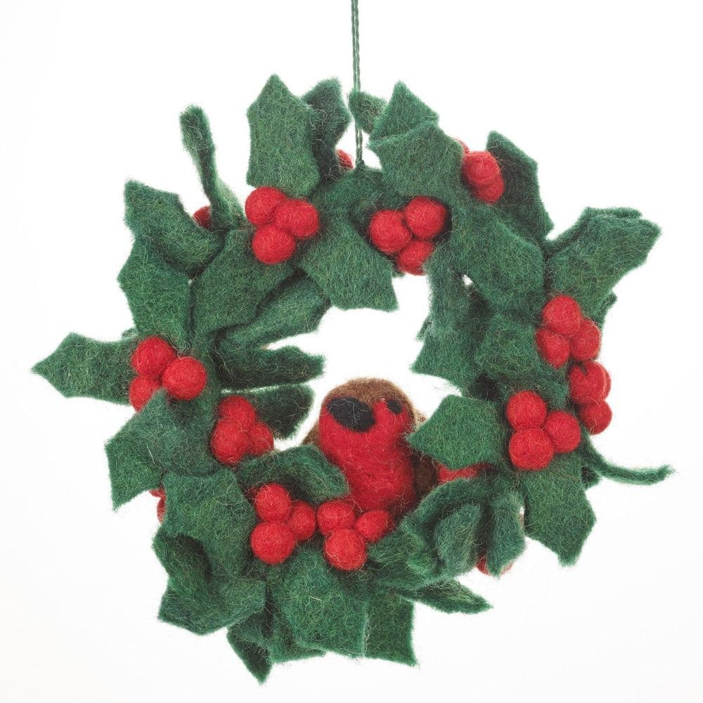Felt Robin & Holly Wreath