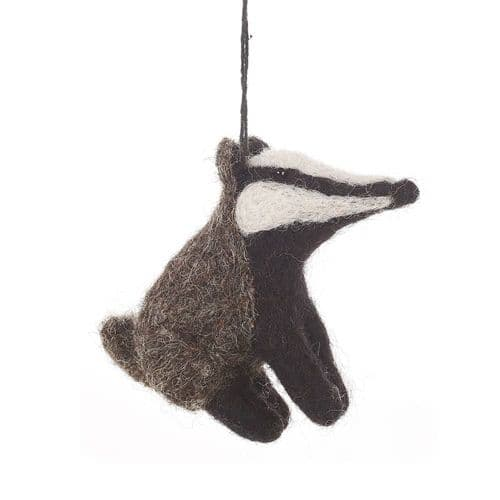 Felted Wool Badger Decoration