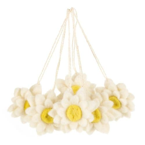 Felted Wool Hanging Daisies