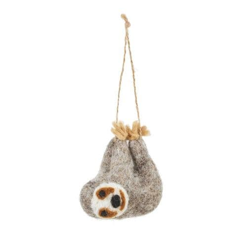 Felted Wool Sloth Decoration