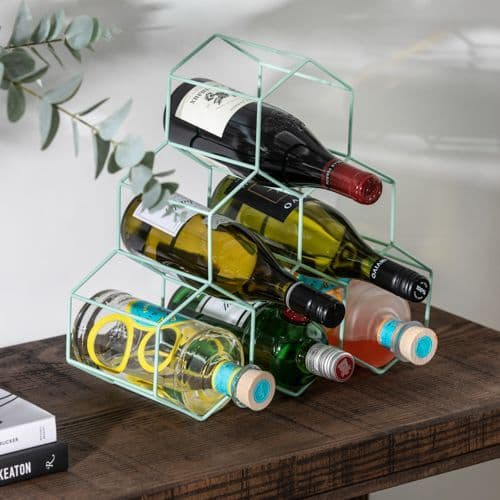 Green Metal Wine Rack