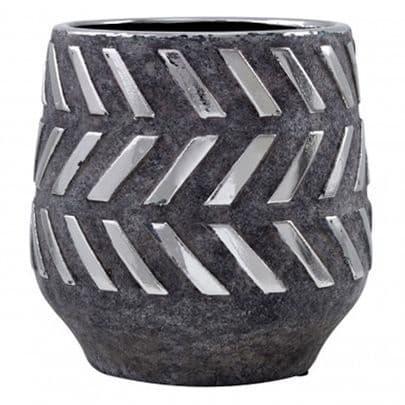 Grey Ceramic And Metal Pot