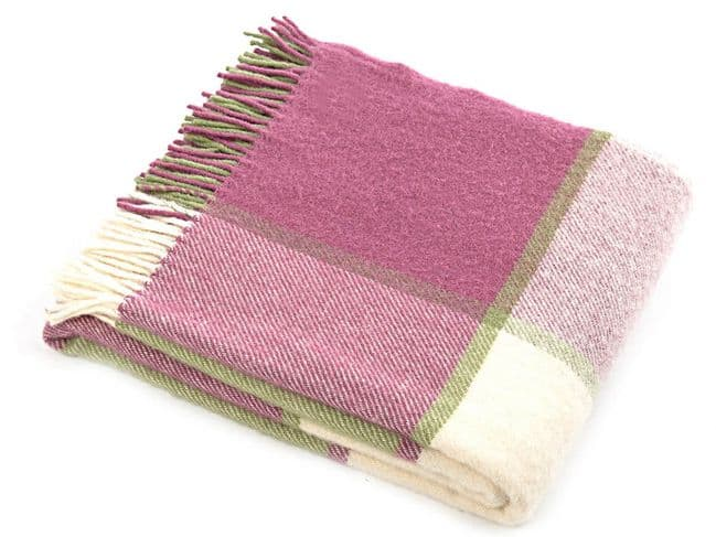 Pink and Green Check Wool Throw|Home Accessories